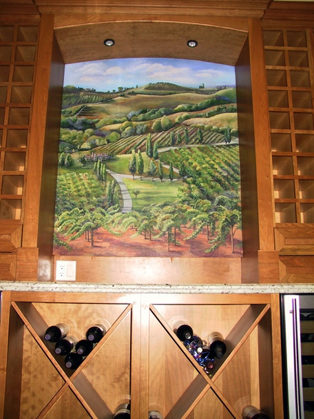Painting installed in wine cabinet
