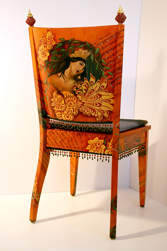 Back of chair influenced by Russian Artist Vasnetsov
