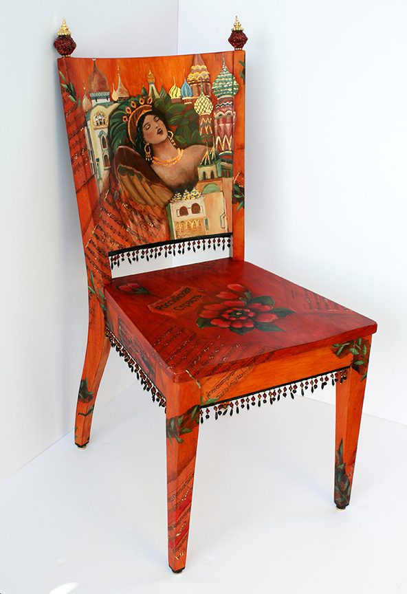 Front of chair influenced by Russian Artist Vasnetsov