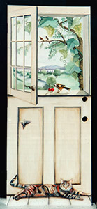 Painted to look like a dutch door overlooking a vineyard with a cat lying at the bottom
