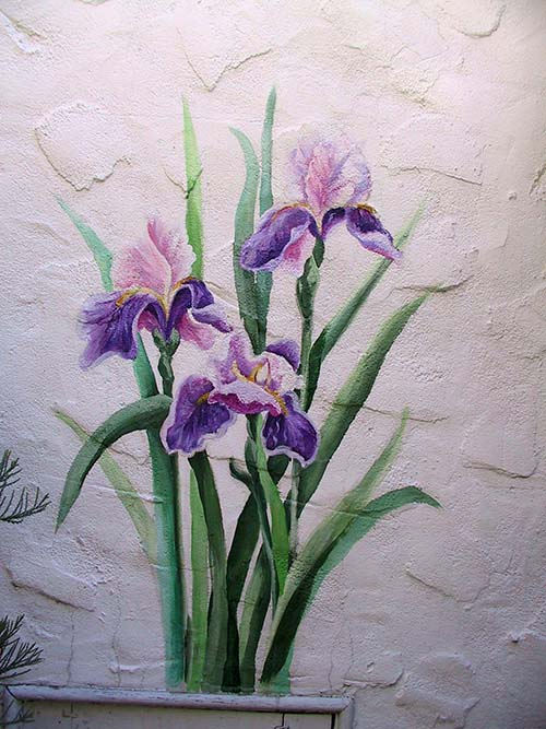 Painting of irises on secondary wall