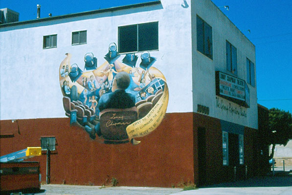 Lonny Chapman Tribute Mural on side of Group Repertory Theatre