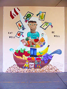 Mural of good food drawings by 5th grade students