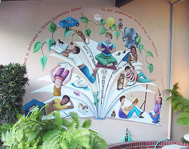 Reading is Magical Mural at Victory Elementary School