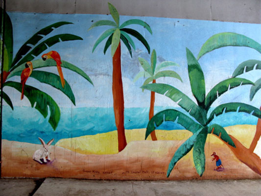 Detail of tropical scene on You Are Here mural