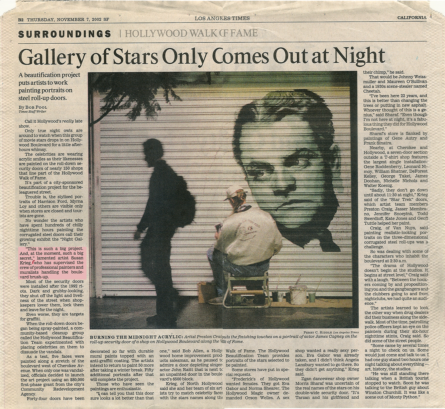 LA Times Article Gallery of Stars Only Comes Out at Night